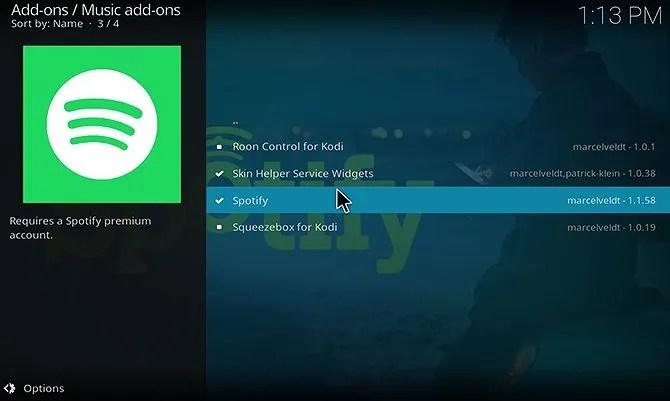 install Spotify Kodi addon