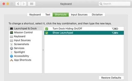 Successful Edit of Keyboard Shortcut Mac
