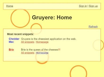 The Google Gruyere website