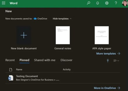 Office Online Pinned Documents and Templates