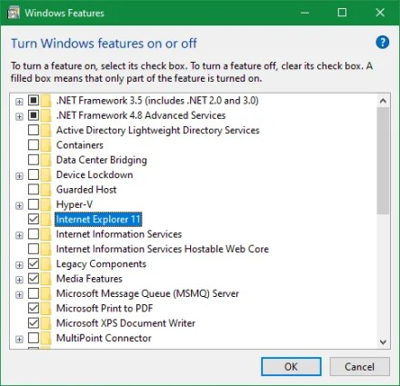 Remove Internet Explorer Windows 10