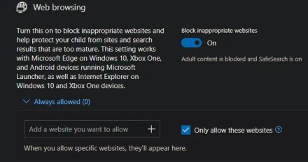 Windows 10 Parental Control Websites