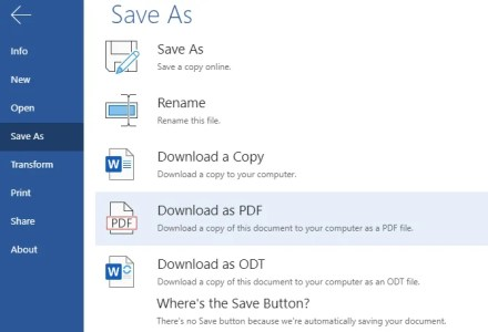 Word Online Save As Prompt