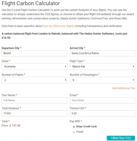 c-level carbon calculator offset flight