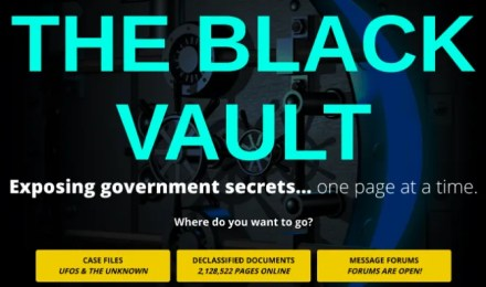 John Greenwald's The Black Vault features declassified documents and government files about UFOs