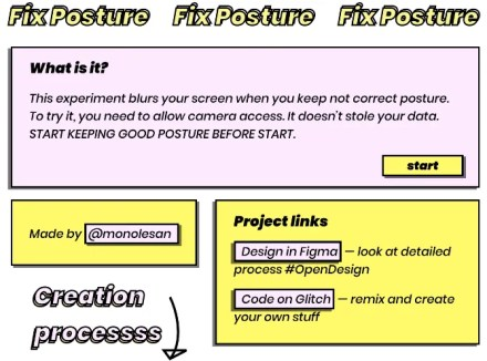 Fix Posture is a web app that uses the webcam to check your posture every hour