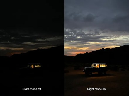 Photos with and without Night mode, shot on iPhone 11