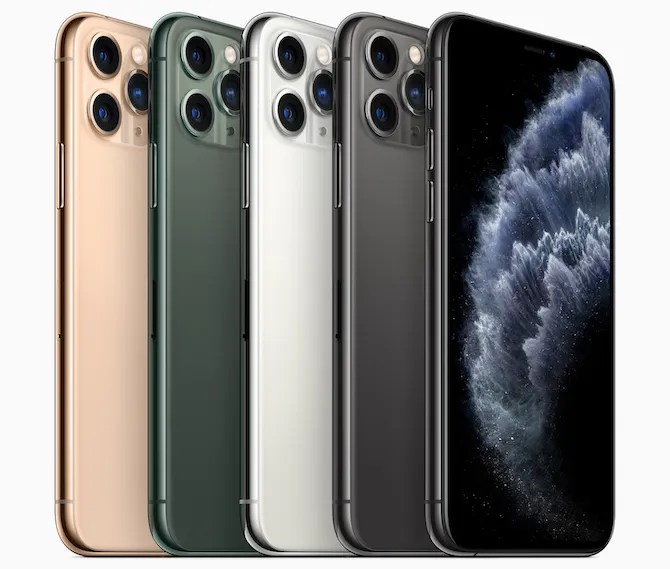 iPhone 11 Pro in its four available colors