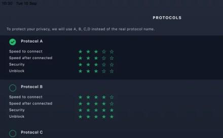 The Protocols menu in VPN Hotspot
