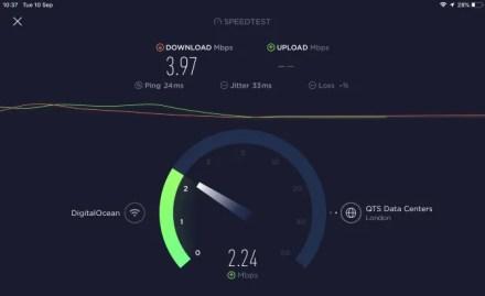 Hotspot VPN speedtest with VPN on