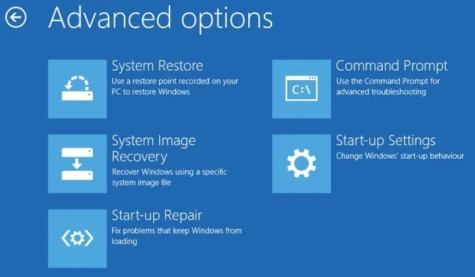 configuración avanzada de inicio de Windows 10