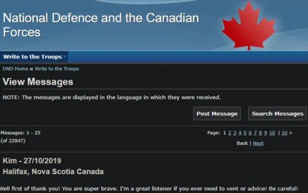 Canadian Armed Forces Message