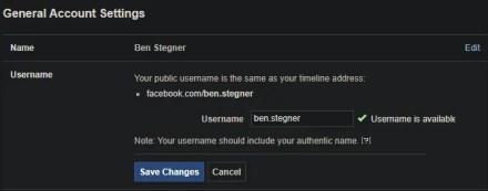 Facebook Set Username