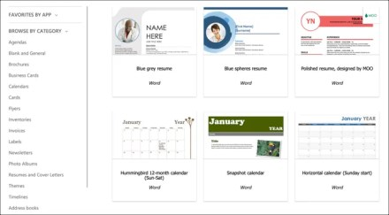 Microsoft Office Online Word templates