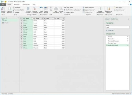 Appended Power Query Table for Excel