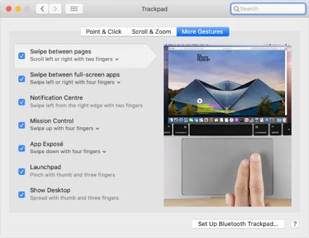 Trackpad gestures in macOS System Preferences