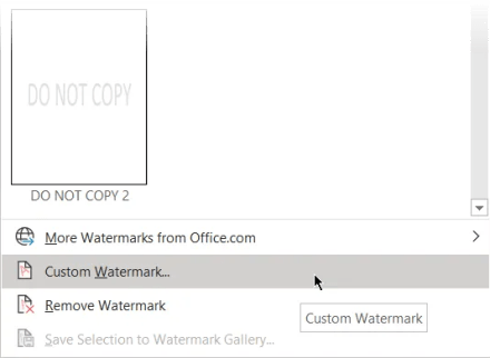 Insert custom watermark in Word