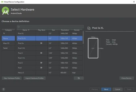 android studio select device to emulate