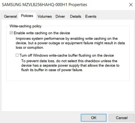 device manager write caching