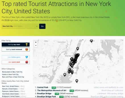 Top Rated Online shows the best places on Google Maps in an easy-to-browse list