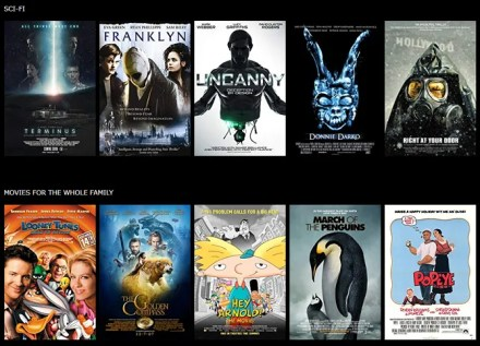 imdb tv scifi and family content rows