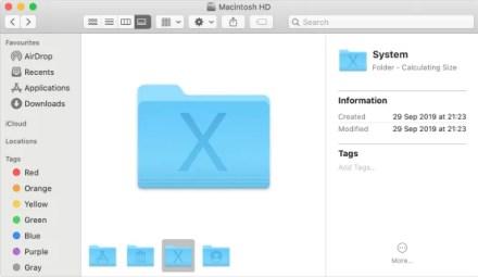Mac System files folder shown in Finder