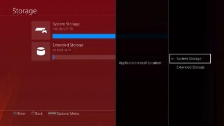 PS4 Choose Storage Location