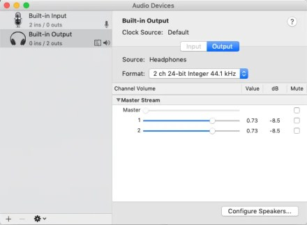 configure settings in Audio MIDI Setup utility