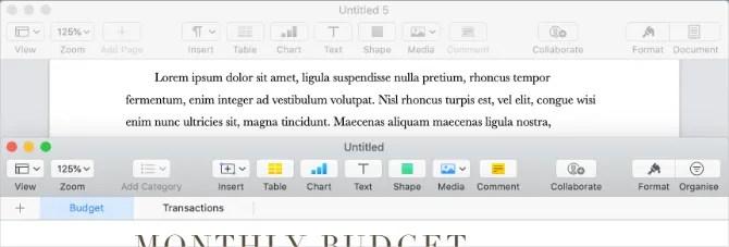 Пользовательский интерфейс Apple Pages and Numbers