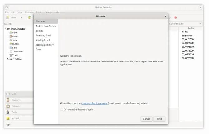 Почтовый клиент GNOME Evolution в Linux