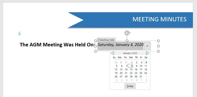 Microsoft Word Date Picker Content Control - The Internet Tips