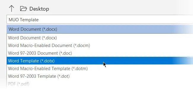 File save option for the Document Template format - The Internet Tips