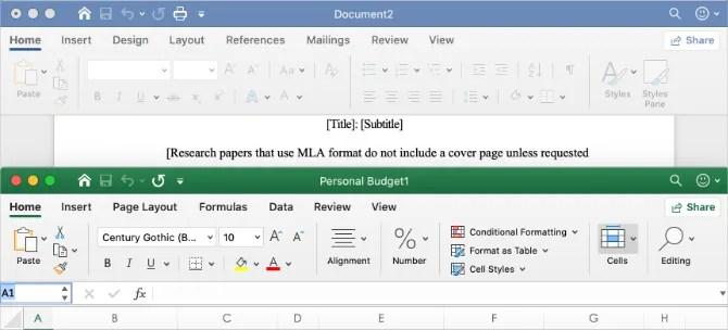Пользовательские интерфейсы Microsoft Word и Excel