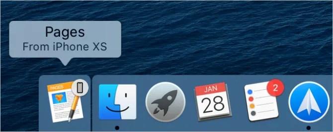 Страницы со значком iPhone в доке Mac, показывающие Handoff