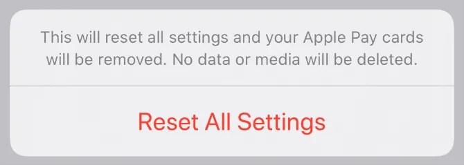 Сбросить все настройки iPhone подтверждение