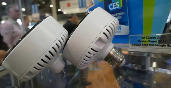 Wi-Charge PowerPuck that screws into light socket.
