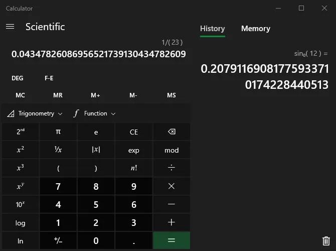Windows Calculator Scientific