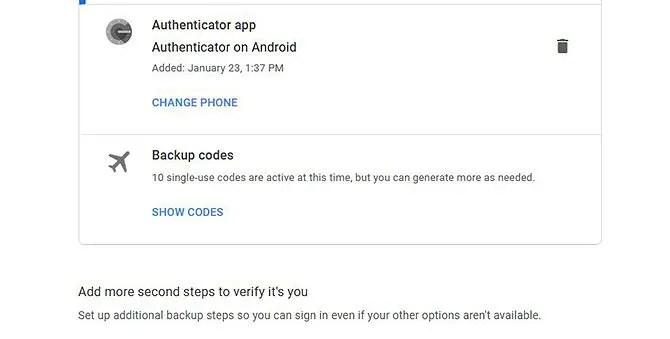 Google Authenticator создает резервные коды