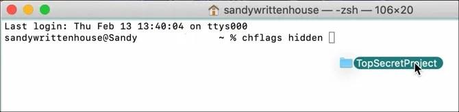 Терминал Скрыть файл на Mac
