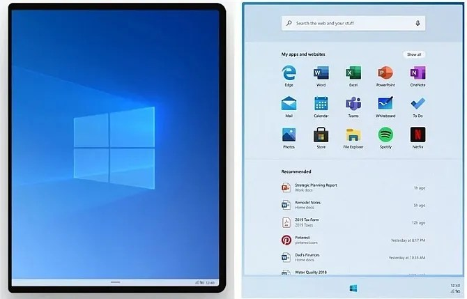 Windows 10x Пуск меню живых плиток