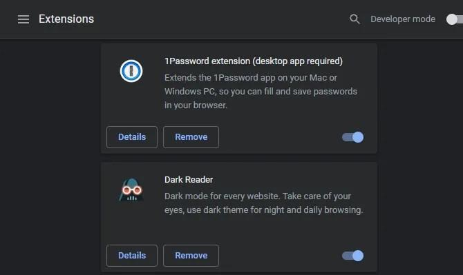 Página de extensiones de Chrome