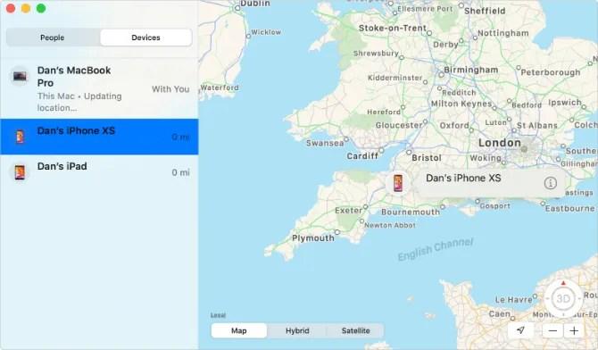 Найти мое приложение на Mac, показывающее потерянное местоположение iPhone