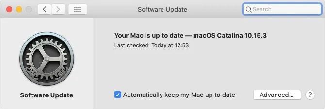 Страница системных настроек обновления программного обеспечения в macOS