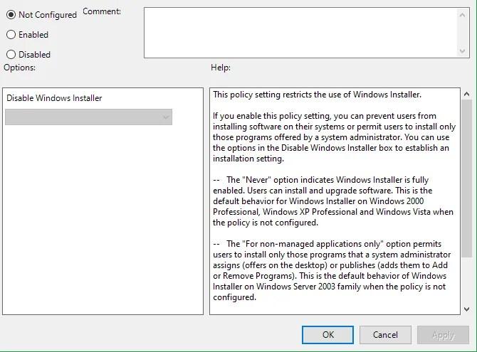 Отключить установщик Windows