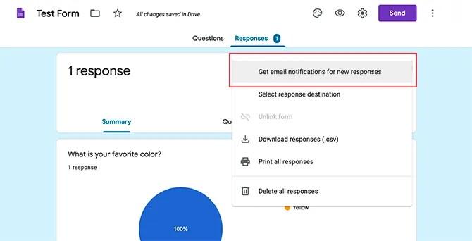 Получать уведомления по электронной почте для результатов формы Google