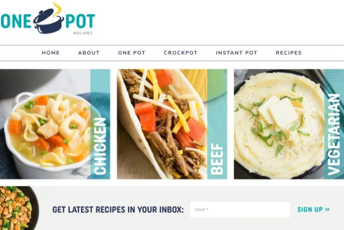 One Pot Recipes reduces cleaning in the kitchen with simple one-pot recipes that can be made with 30 minutes of work