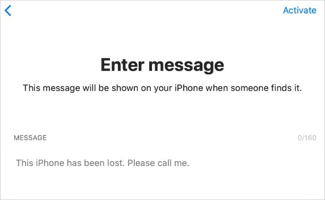 Текстовое поле сообщения о потере iPhone