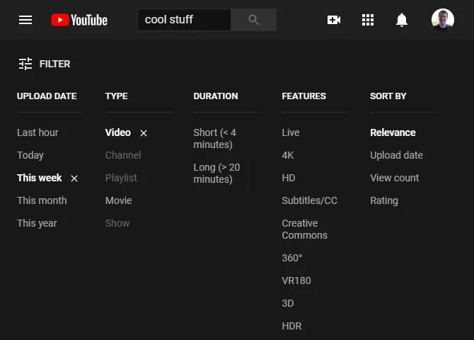 Фильтры YouTube