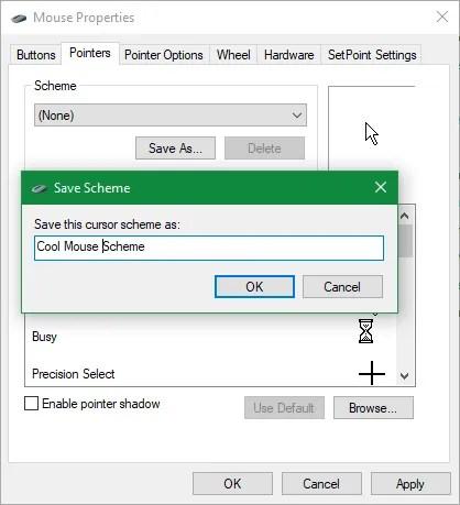 Esquema de cursor de guardado de Windows