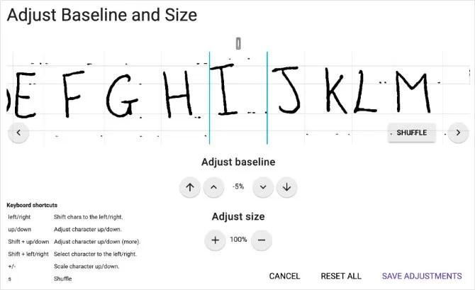 Корректировка базовой линии и размера для пользовательского шрифта